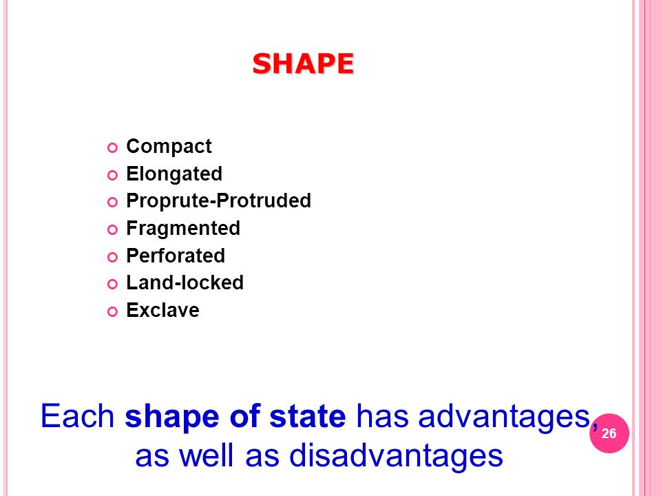 Each shape of state has advantages, as well as disadvantages