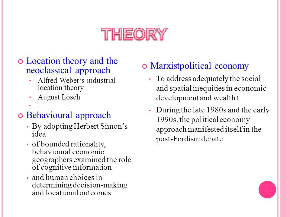 THEORY Location theory and the neoclassical approach
