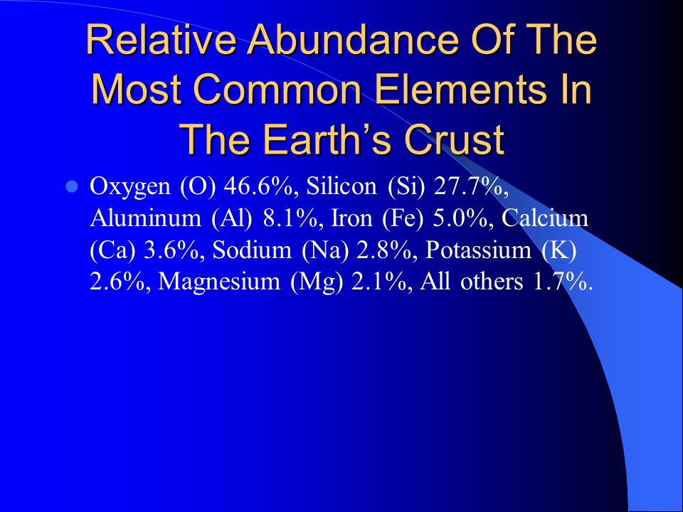 Relative Abundance Of The Most Common Elements In The Earth's Crust