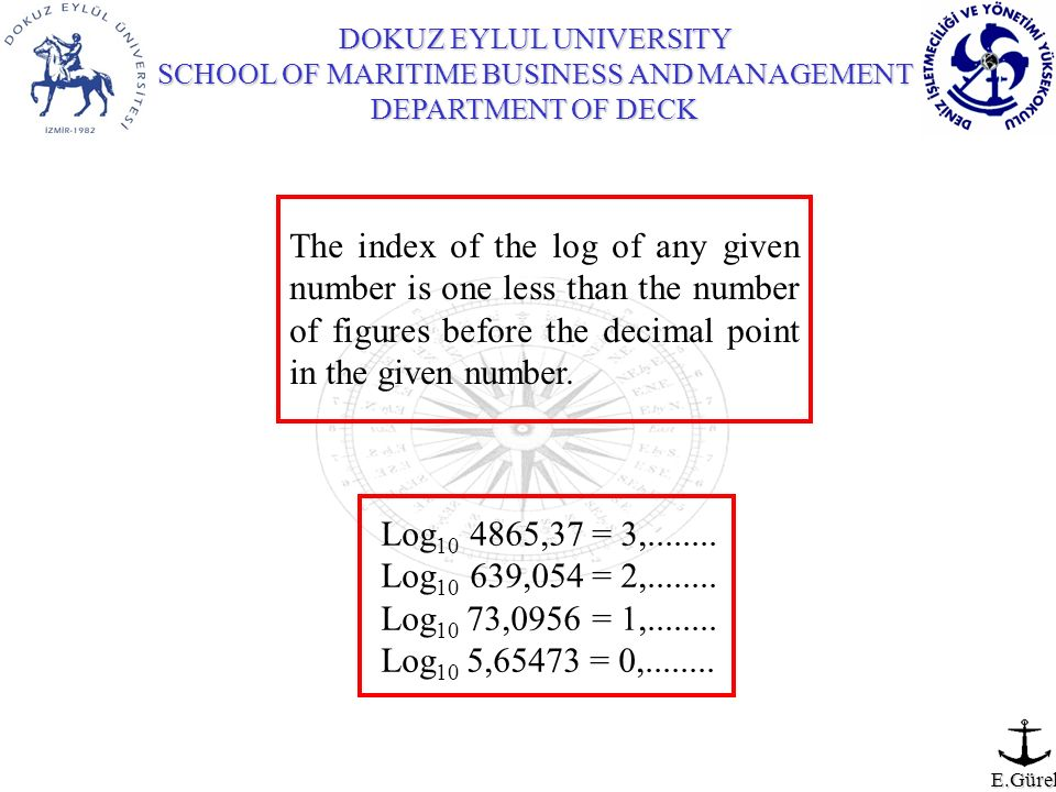 The index of the log of any given number is one less than the number of figures before the decimal point in the given number.