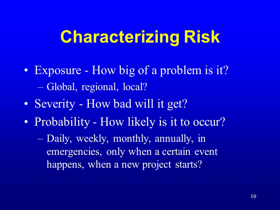 Characterizing Risk Exposure - How big of a problem is it