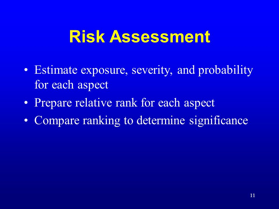 Risk Assessment Estimate exposure, severity, and probability for each aspect. Prepare relative rank for each aspect.