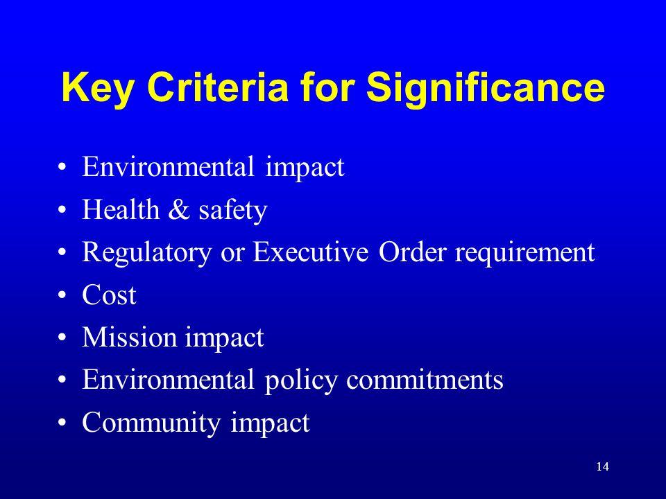 Key Criteria for Significance