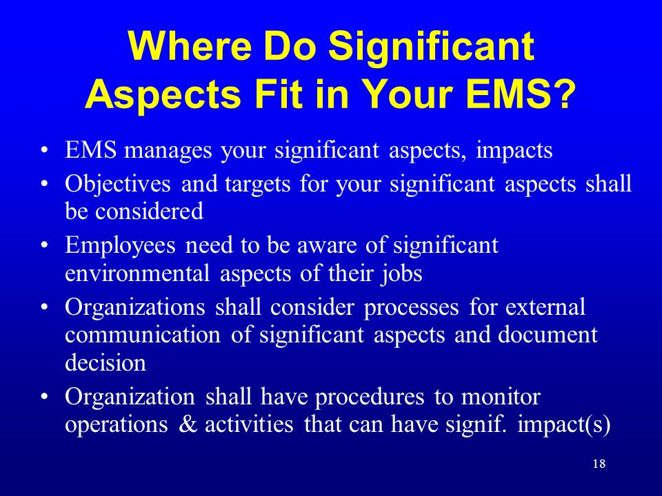 Where Do Significant Aspects Fit in Your EMS
