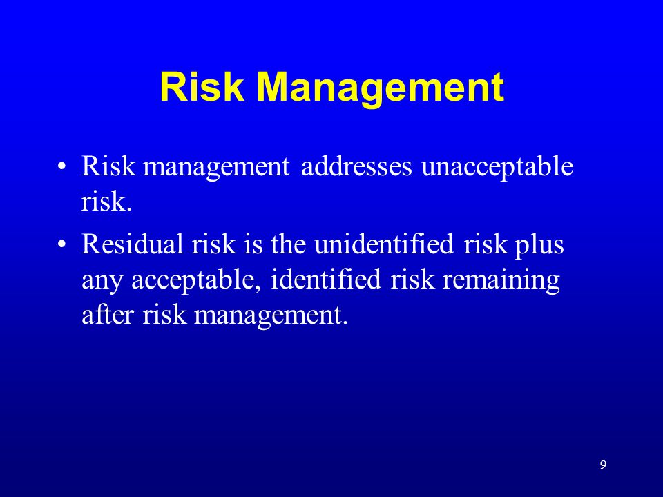 Risk Management Risk management addresses unacceptable risk.