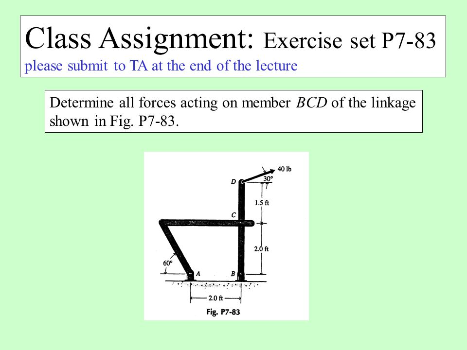 Class Assignment: Exercise set P7-83