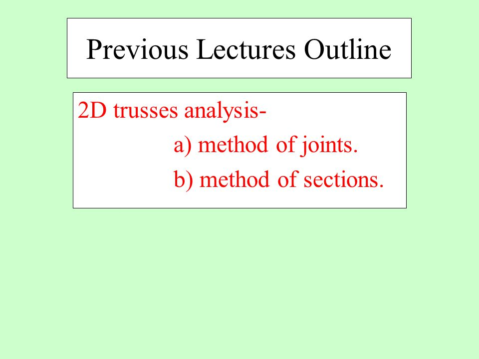 Previous Lectures Outline