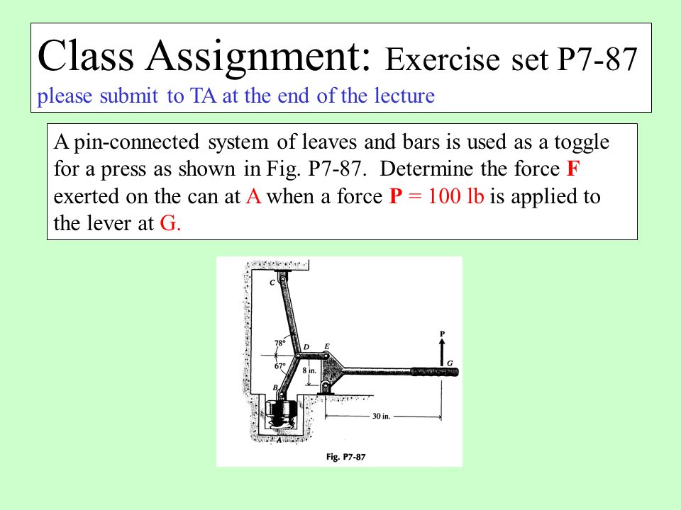 Class Assignment: Exercise set P7-87