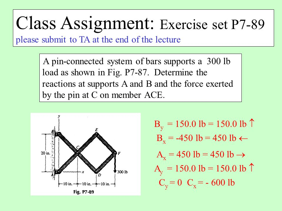 Class Assignment: Exercise set P7-89