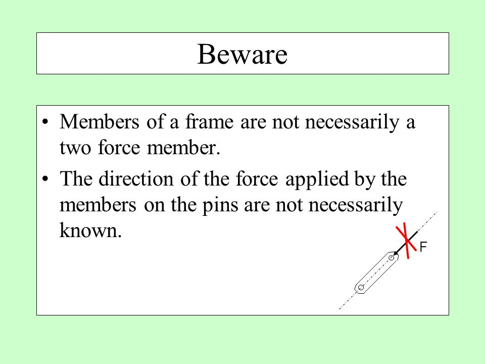 Beware Members of a frame are not necessarily a two force member.