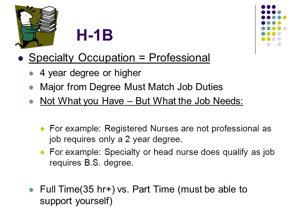 H-1B Specialty Occupation = Professional 4 year degree or higher