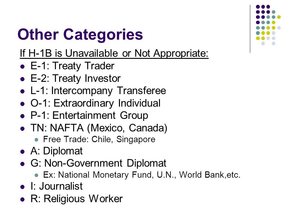 Other Categories If H-1B is Unavailable or Not Appropriate: