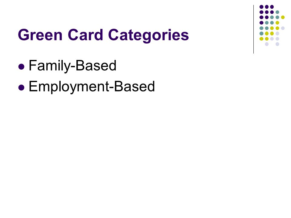 Green Card Categories Family-Based Employment-Based