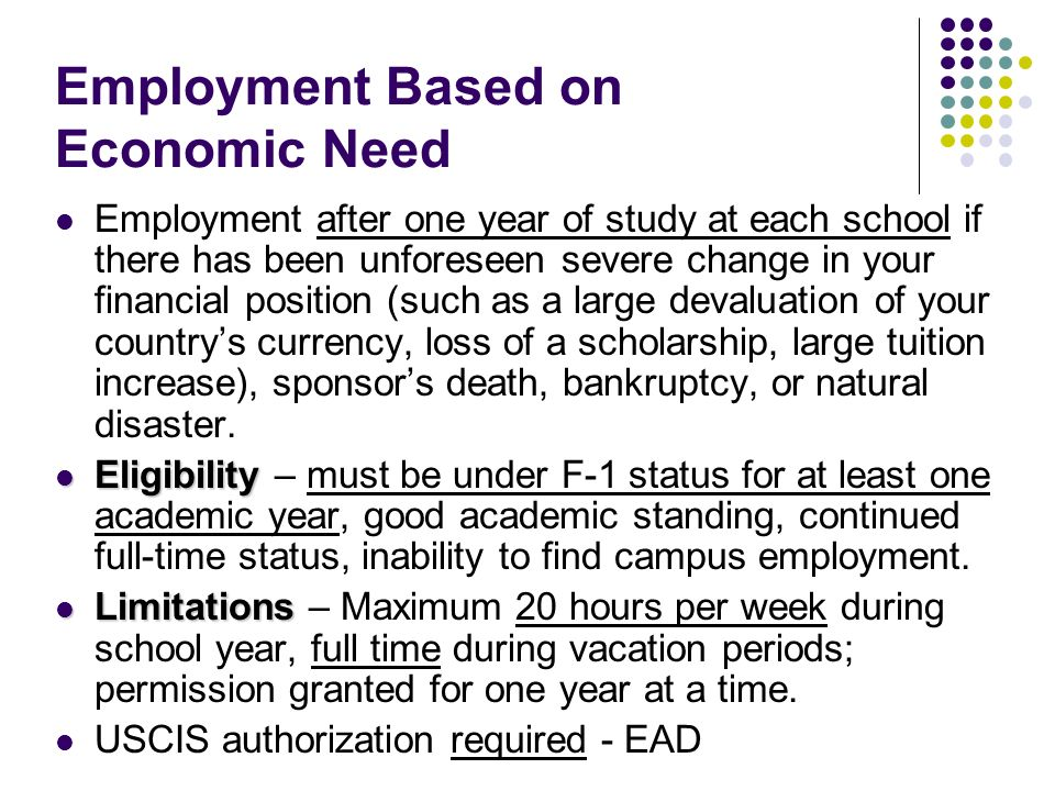 Employment Based on Economic Need