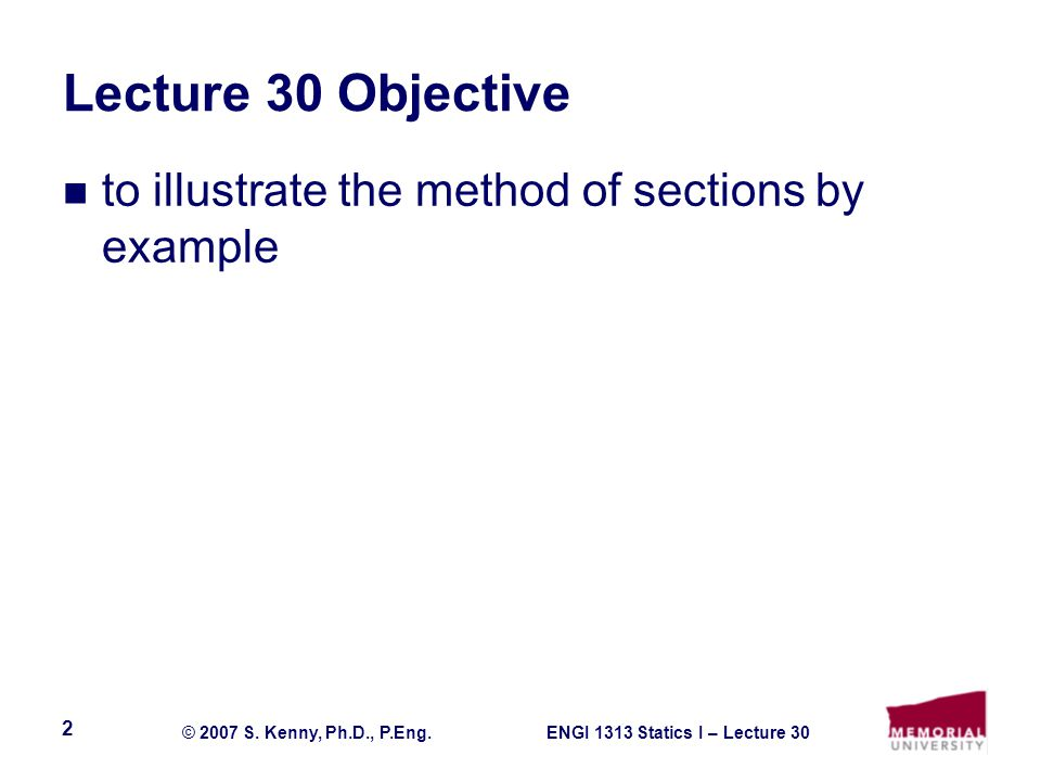 Lecture 30 Objective to illustrate the method of sections by example