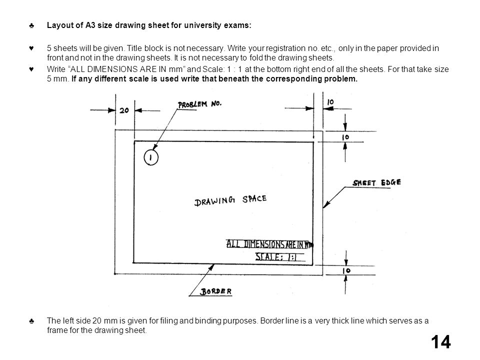 ♣ Layout of A3 size drawing sheet for university exams: