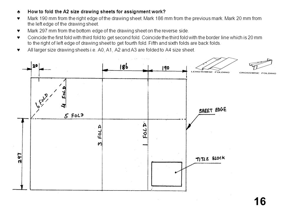 ♣ How to fold the A2 size drawing sheets for assignment work