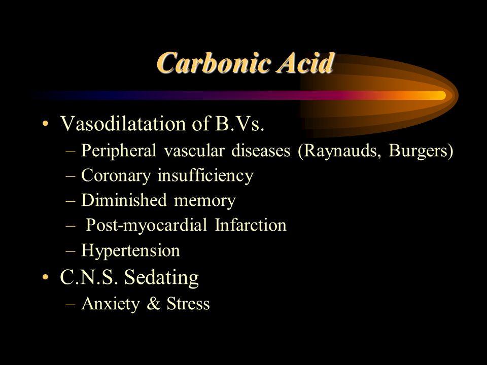 Carbonic Acid Vasodilatation of B.Vs. C.N.S. Sedating