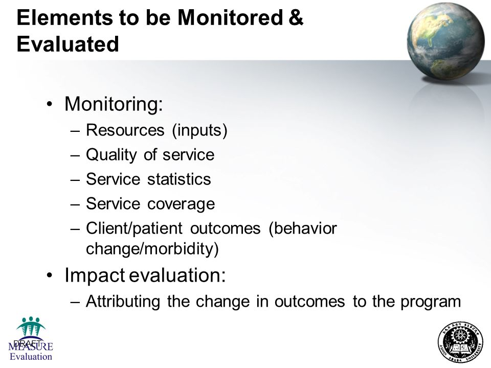 Elements to be Monitored & Evaluated