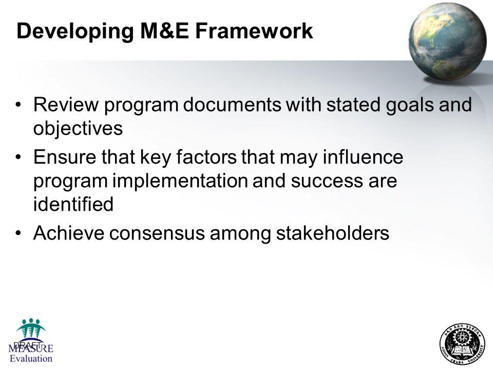 Developing M&E Framework