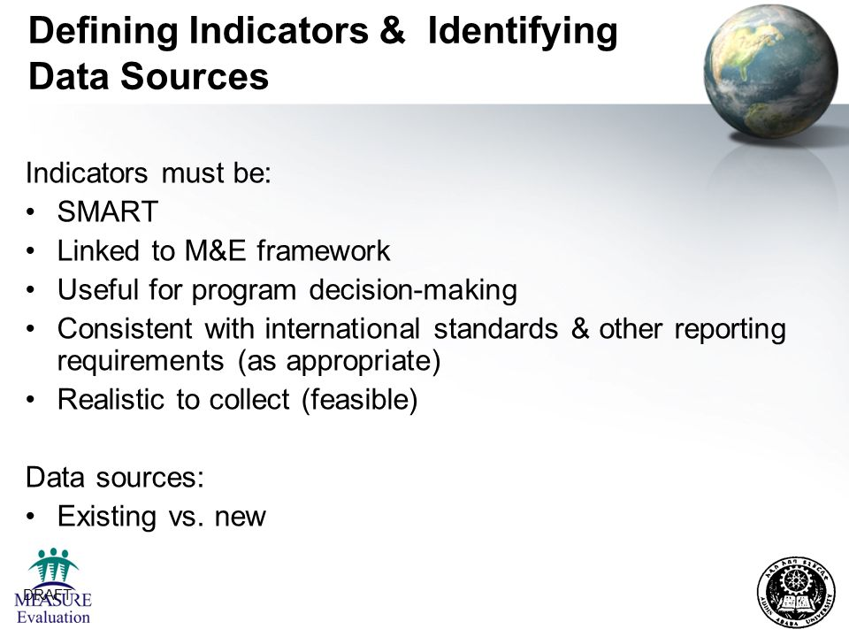 Defining Indicators & Identifying Data Sources