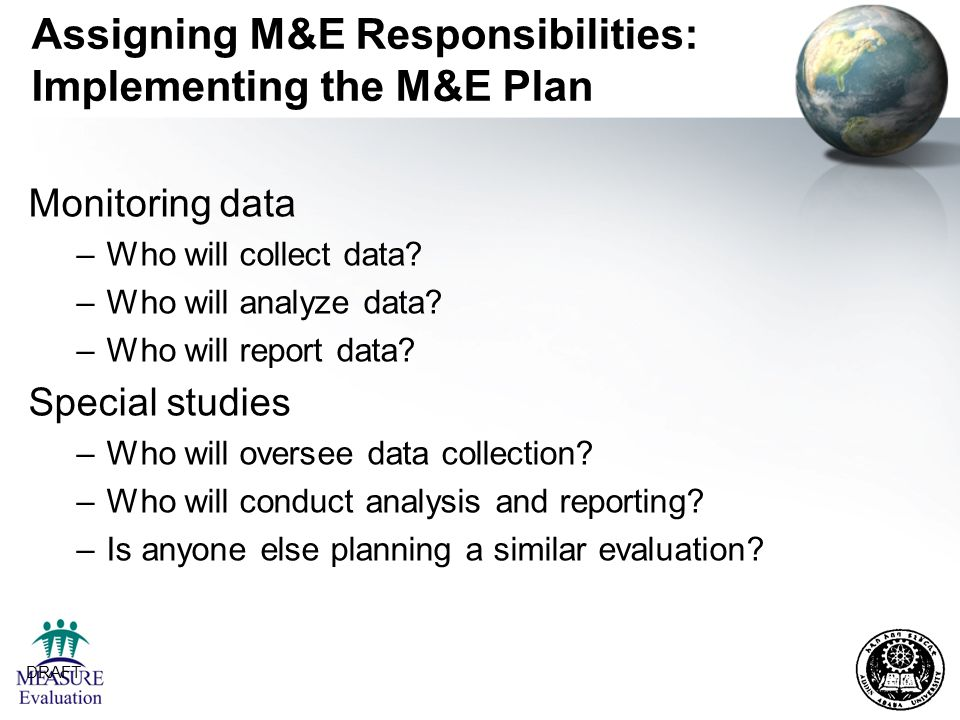 Assigning M&E Responsibilities: Implementing the M&E Plan