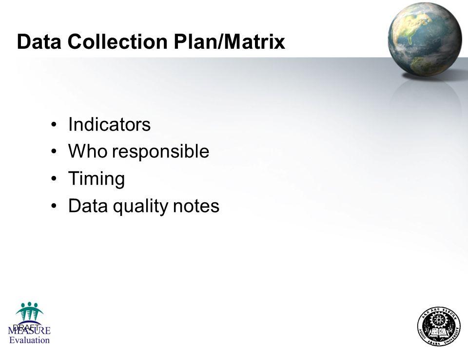 Data Collection Plan/Matrix