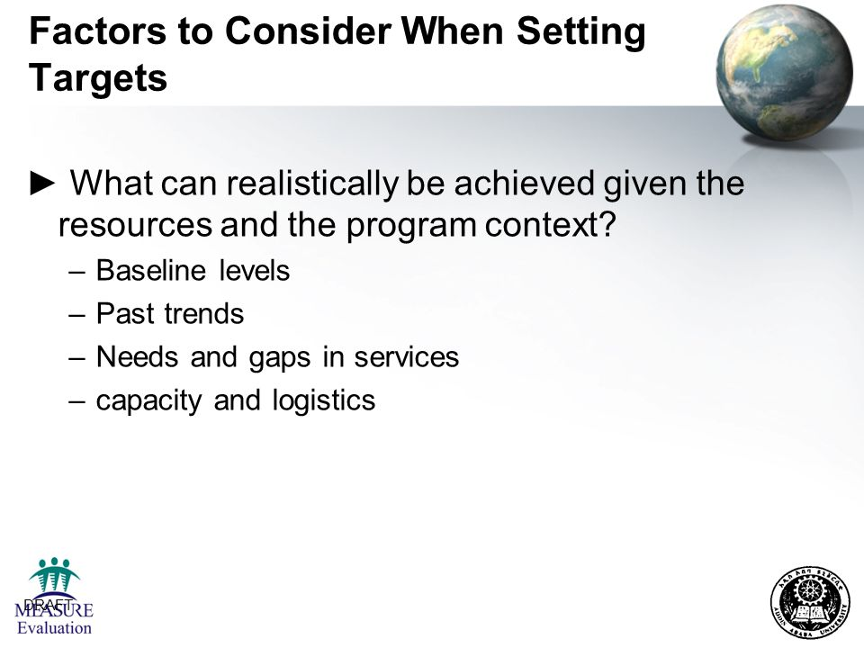 Factors to Consider When Setting Targets