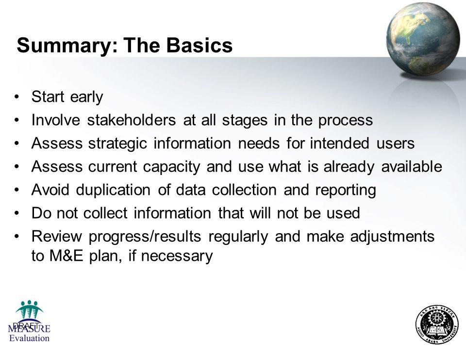 Summary: The Basics Start early
