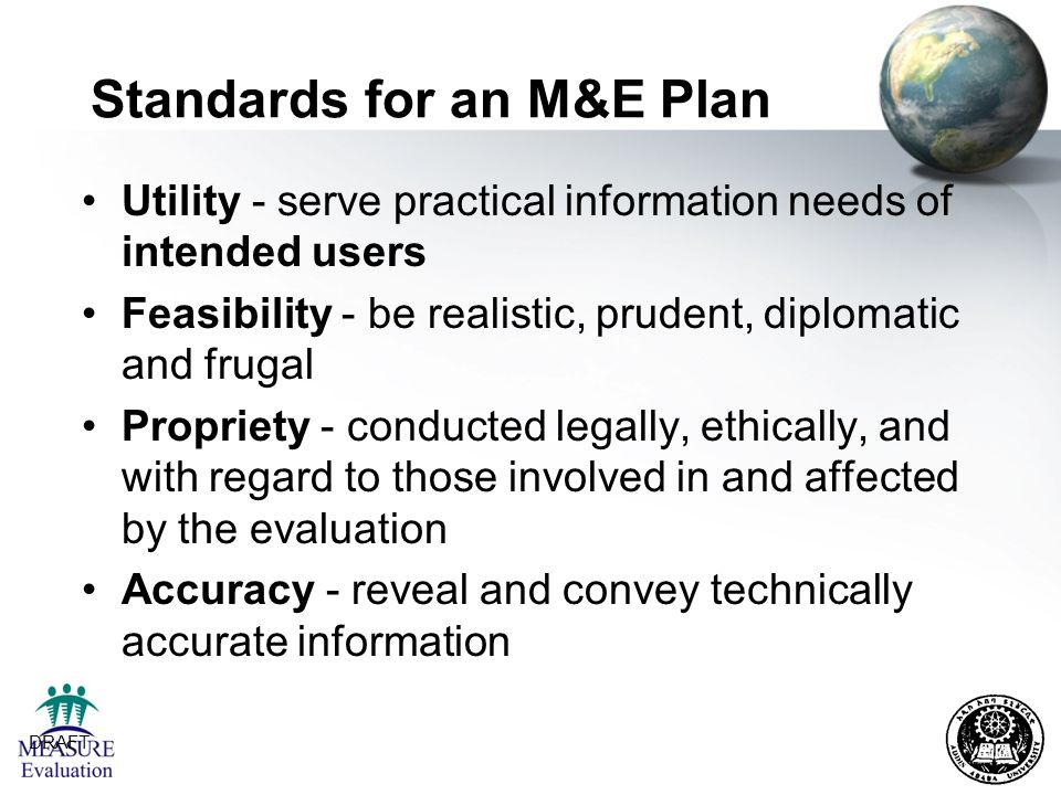 Standards for an M&E Plan