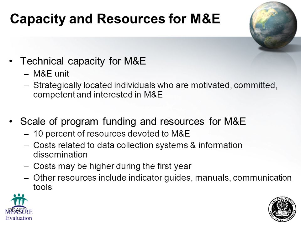 Capacity and Resources for M&E