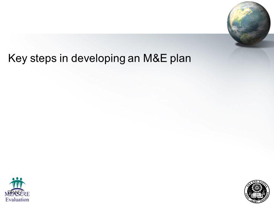 Key steps in developing an M&E plan
