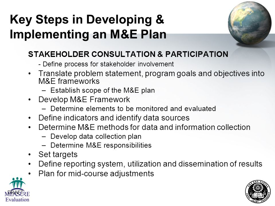 Key Steps in Developing & Implementing an M&E Plan