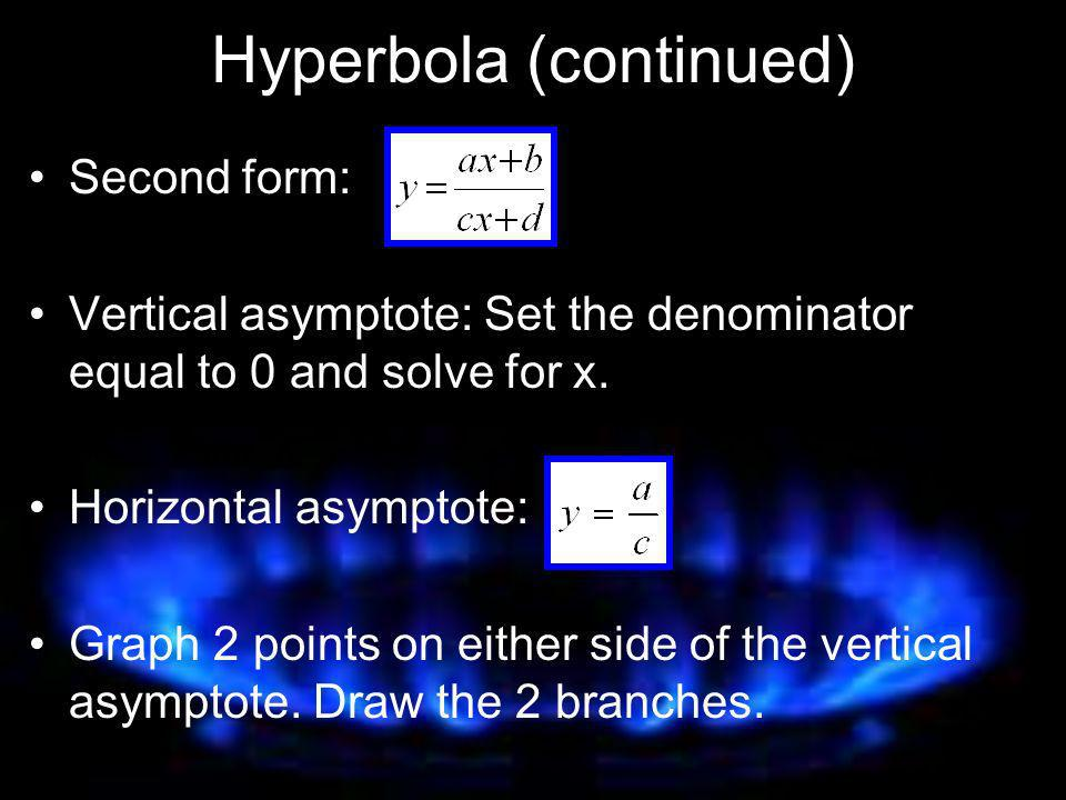 Hyperbola (continued)