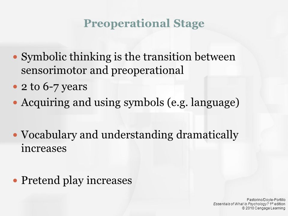 Preoperational Stage Symbolic thinking is the transition between sensorimotor and preoperational. 2 to 6-7 years.