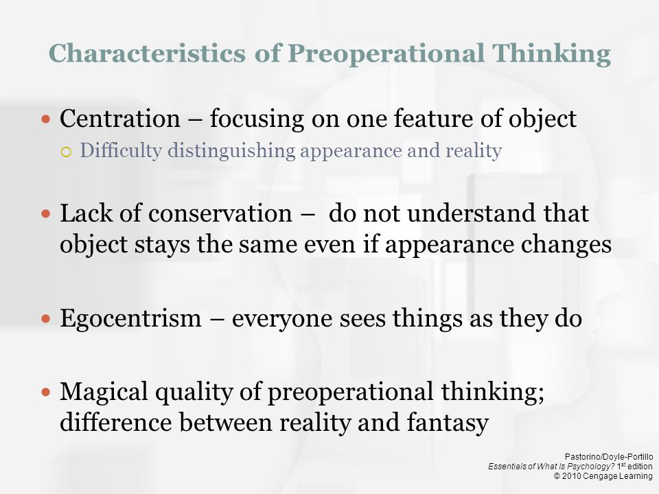 Characteristics of Preoperational Thinking