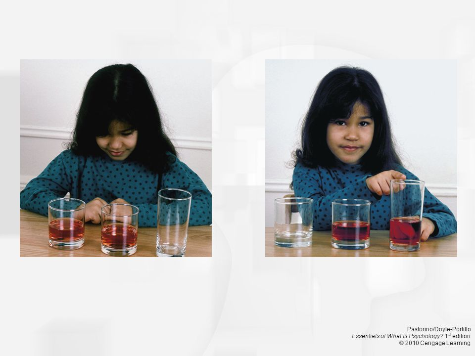 Lacking the ability of conservation, young children are likely to believe that the amount of liquid has changed when it is poured into the thinner, taller glass.