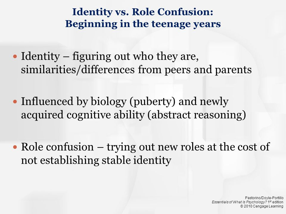 Identity vs. Role Confusion: Beginning in the teenage years