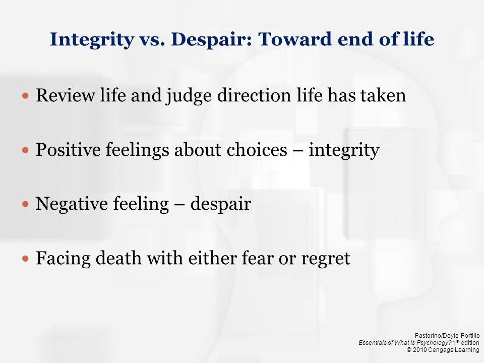 Integrity vs. Despair: Toward end of life