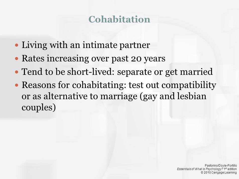 Living with an intimate partner Rates increasing over past 20 years