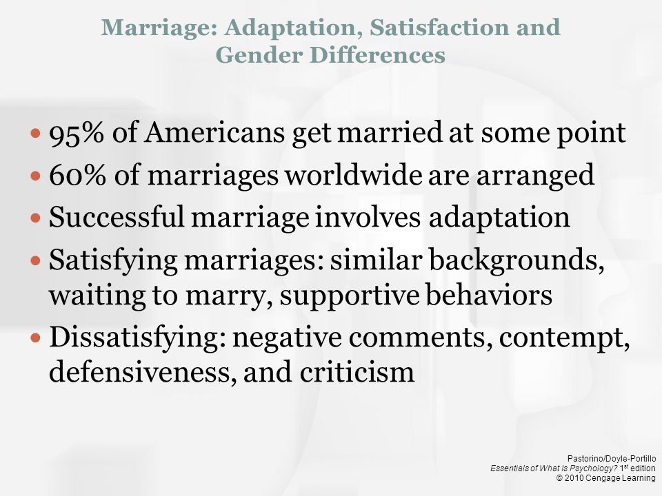 Marriage: Adaptation, Satisfaction and Gender Differences