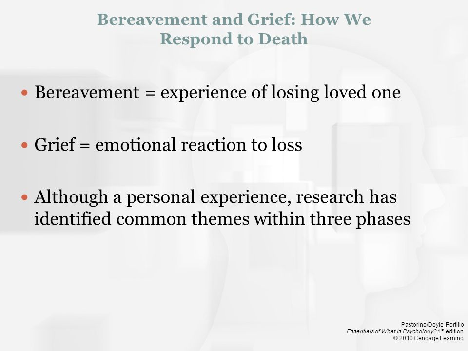 Bereavement and Grief: How We Respond to Death