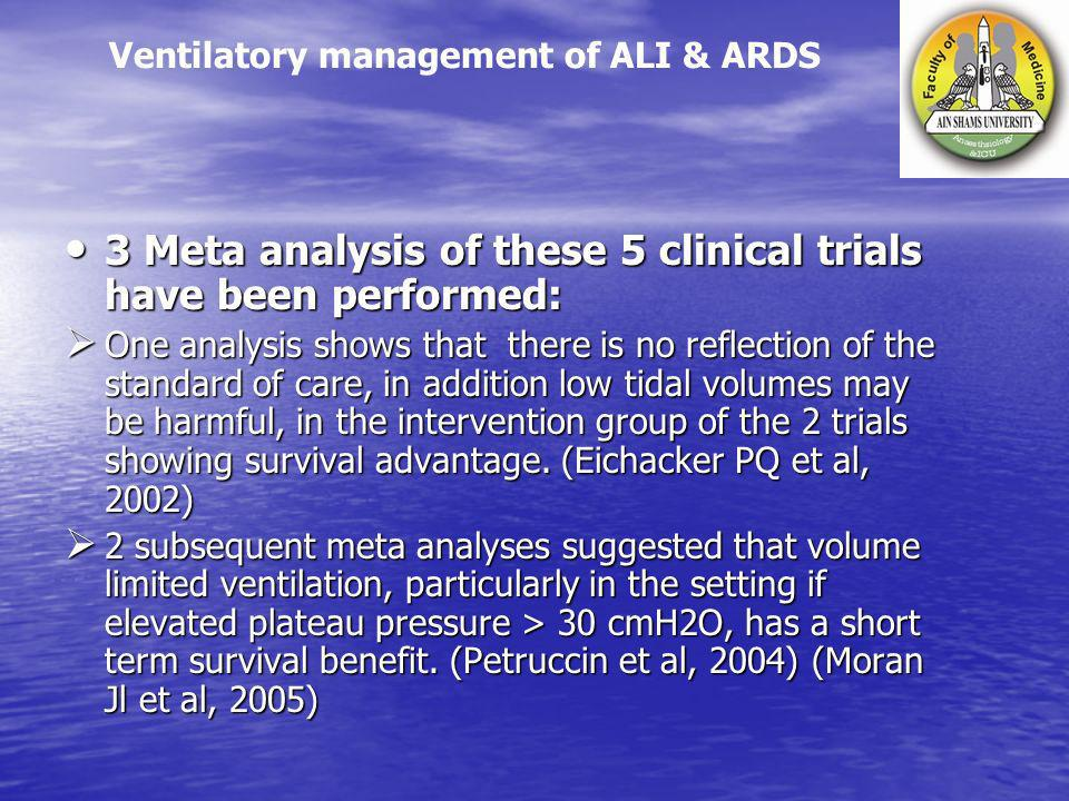 3 Meta analysis of these 5 clinical trials have been performed: