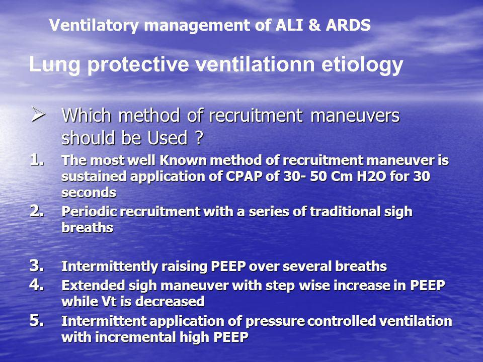 Lung protective ventilationn etiology
