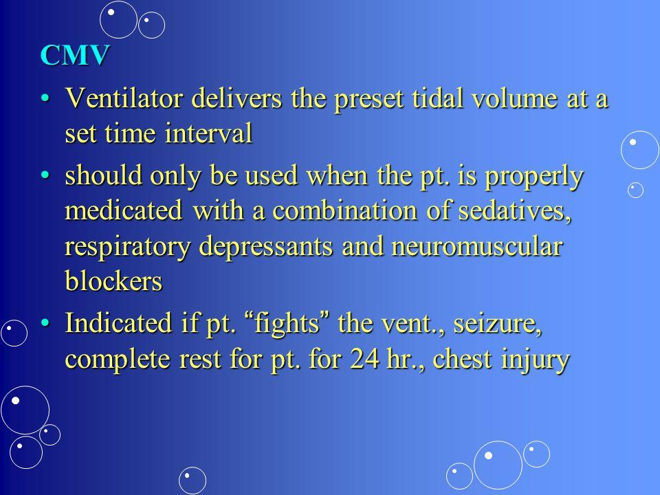 CMV Ventilator delivers the preset tidal volume at a set time interval.