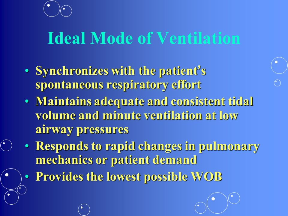 Ideal Mode of Ventilation