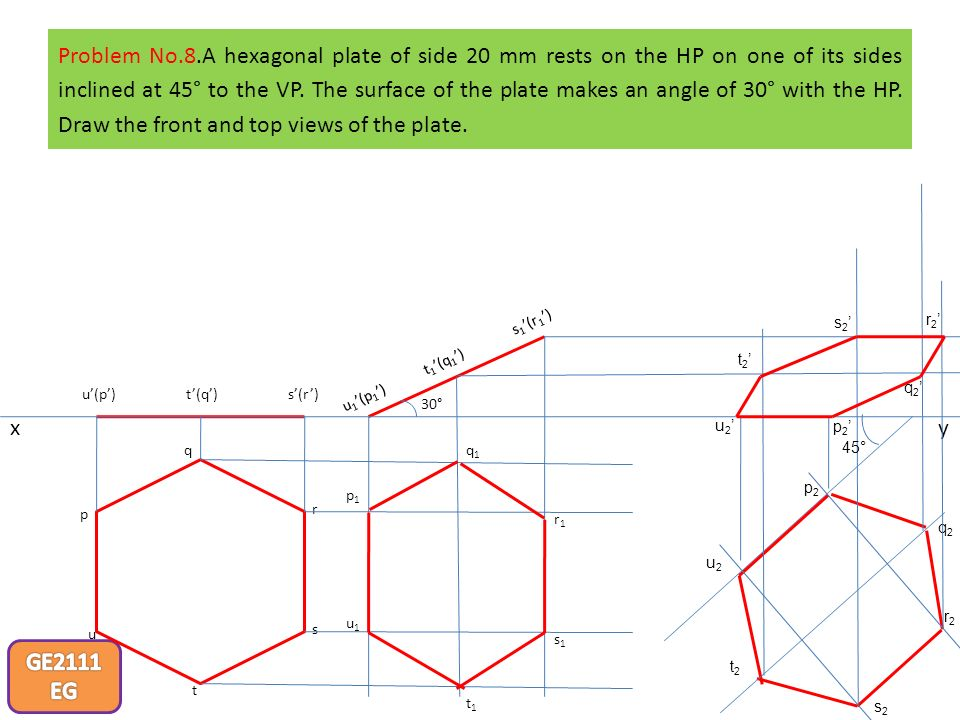 Problem No.8.A hexagonal plate of side 20 mm rests on the HP on one of its sides inclined at 45° to the VP. The surface of the plate makes an angle of 30° with the HP. Draw the front and top views of the plate.