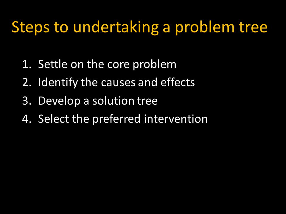 Steps to undertaking a problem tree