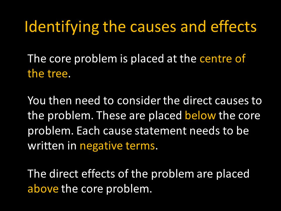Identifying the causes and effects
