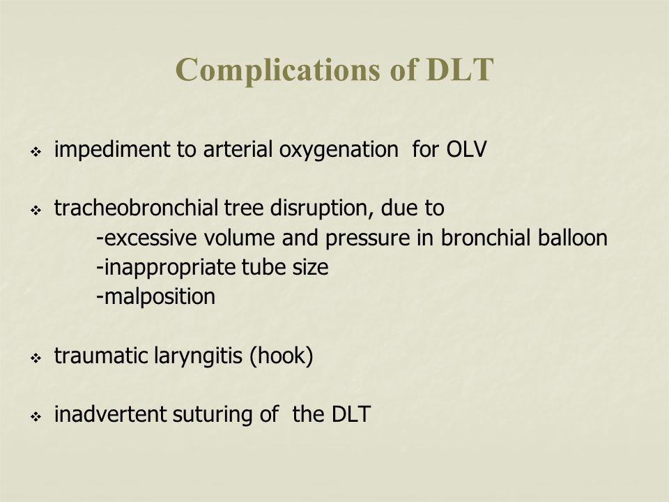 Complications of DLT impediment to arterial oxygenation for OLV